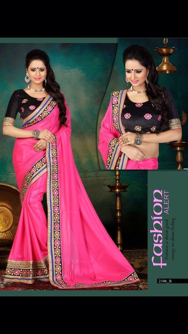 Beautiful Pink & Black Silk Saree