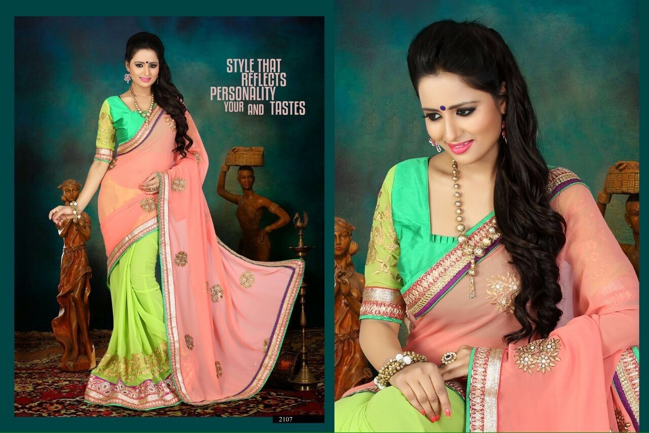 Designer Light Orange & Light  Green Saree
