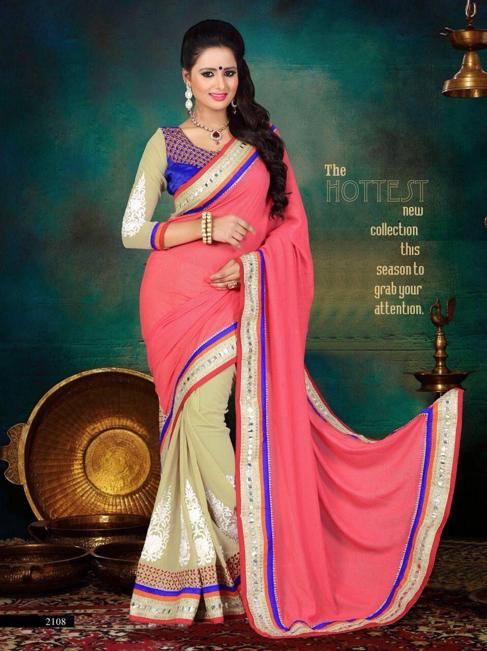 Designer Pink & Cream Saree