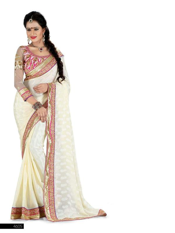 Beautiful White designer saree
