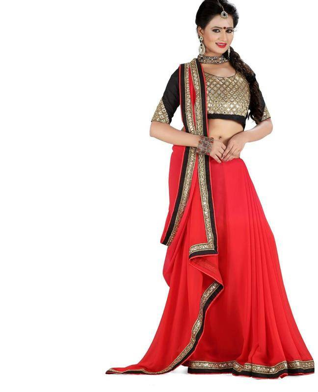 Orange & Black chaniya choli saree
