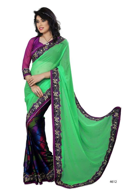 Green & Purple designer saree