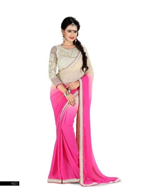 Designer white & Pink Saree