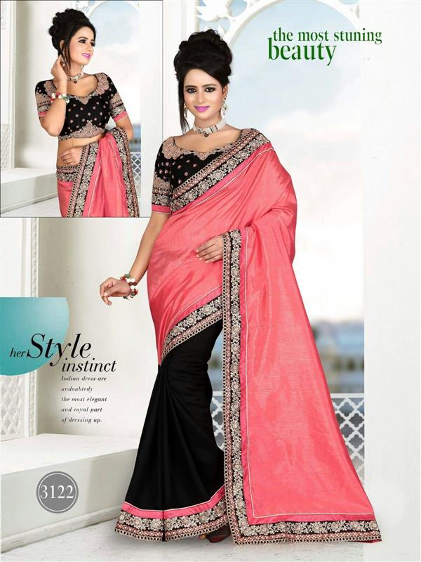 Designer Black & Orange silk Saree