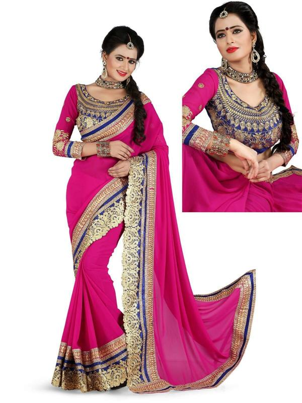 Royal Pink Cut work Saree