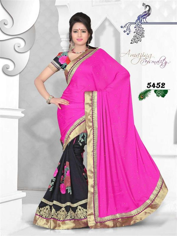 Designer pink & Black Saree