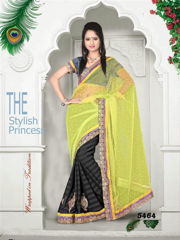 Light Yellow & Black  party wear saree