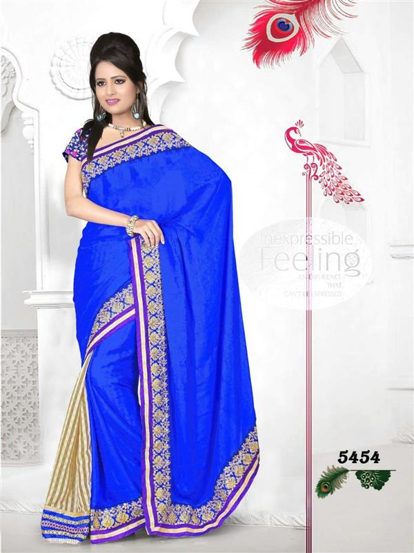 Blue Border Saree