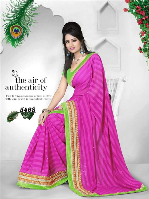 Beautiful Pink & Green party wear saree