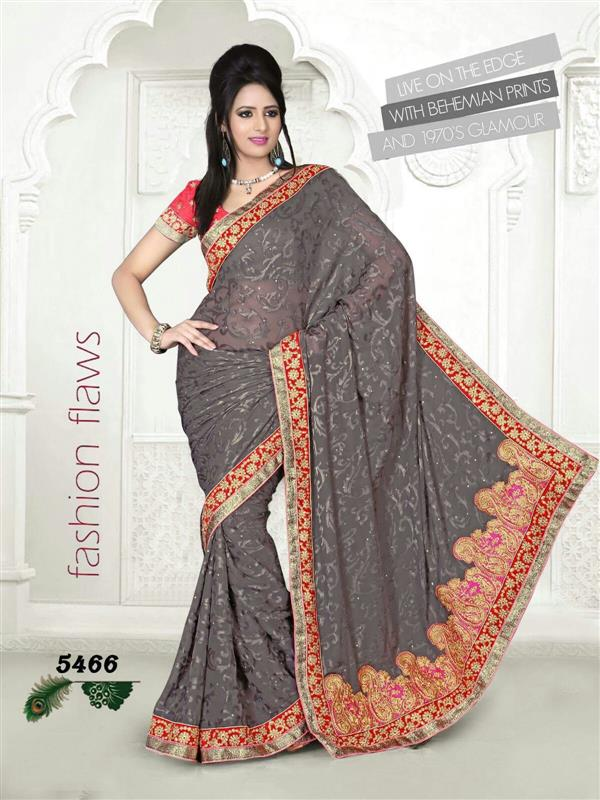 Attractive Gray & Red Saree