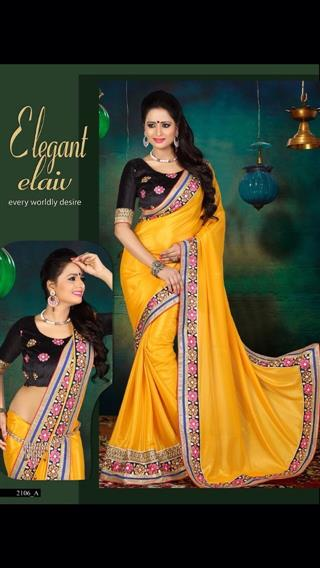 Beautiful Yellow & Black Silk Saree
