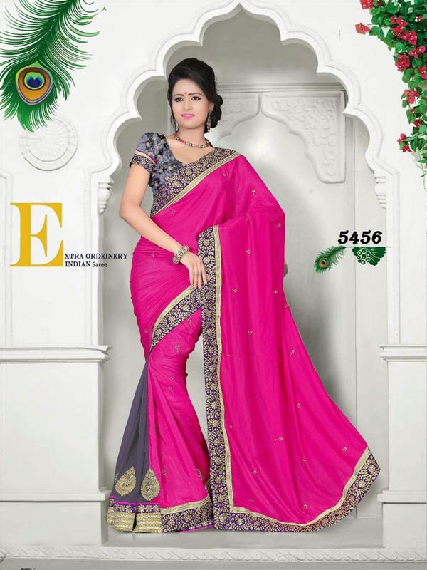 Designer Pink & Gray Silk Saree