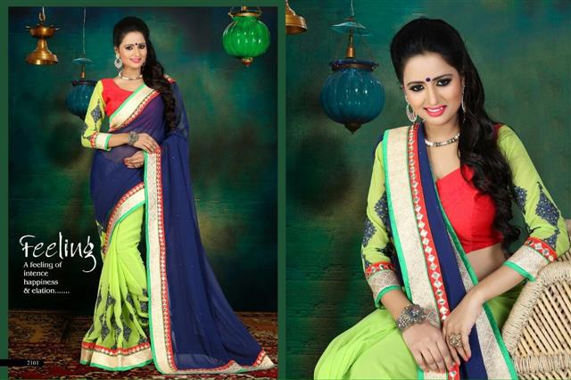 Designer Blue & Light Green Saree