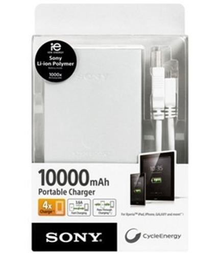 SONY 10000 MAH POWER BANK PORTABLE CHARGER WHITE