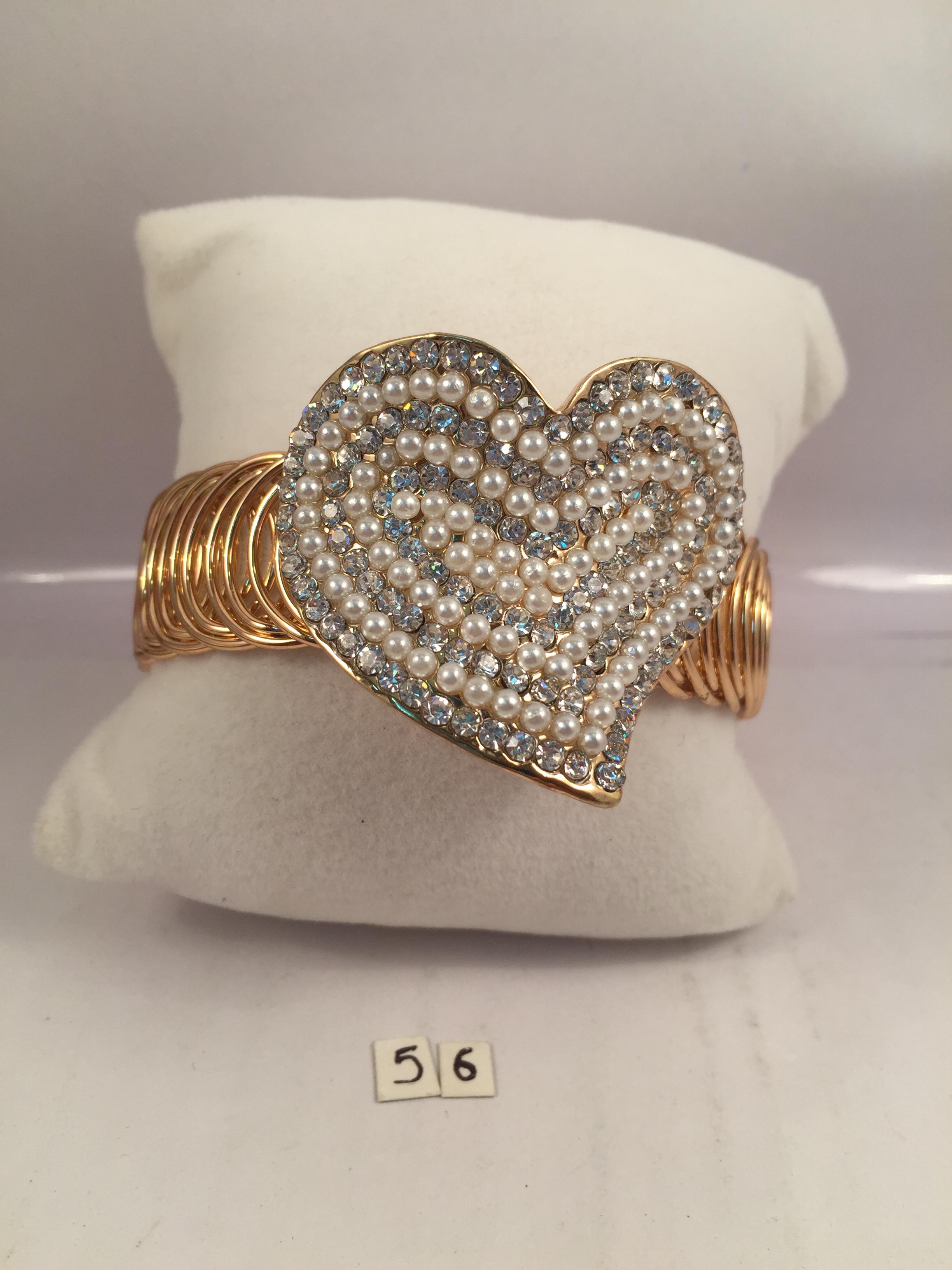 Gold toned diamond finish heart chic bracelets