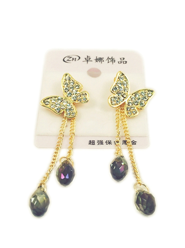 Golden shiney butterfly and long chain earrings