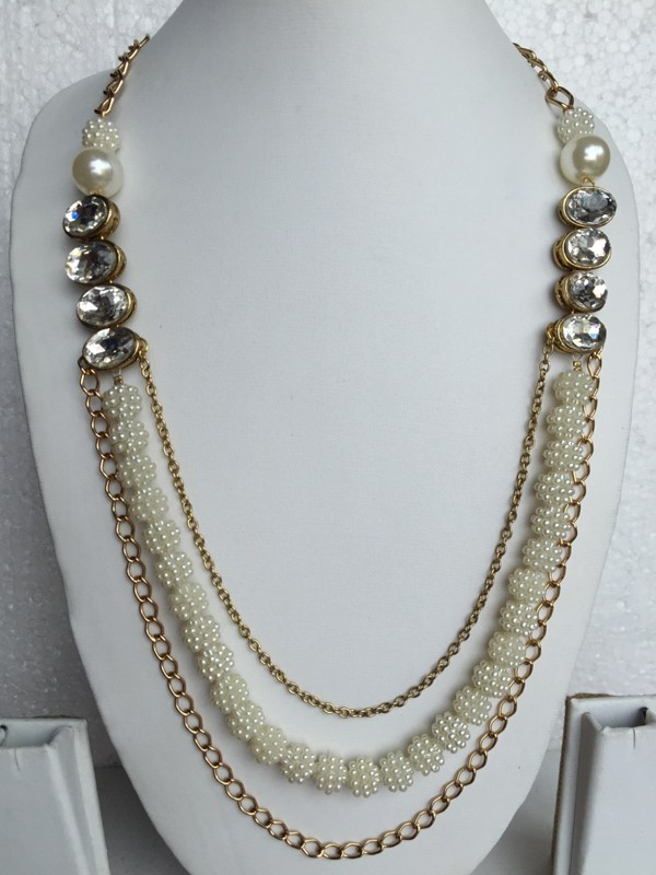 Multi chain antique gold toned and pearl chain very stylish necklace
