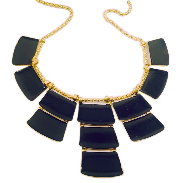 Stylish black and gold toned necklace