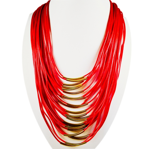 Red leather multi chord necklace with golde toned comps