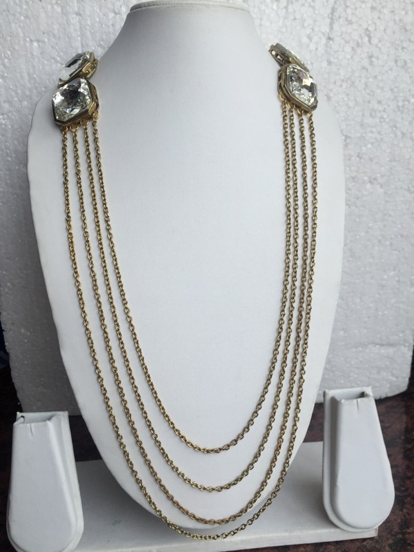 Multi chain antique gold toned very stylish necklace