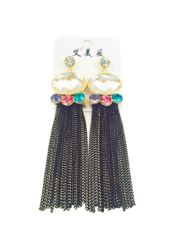 Sparkling bead with black chain chic earrings