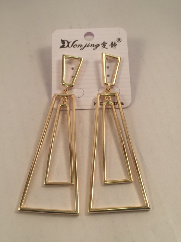 Long rectangular goldent toned chic earrings
