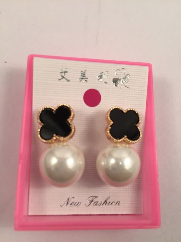 Beautiful  pearl with cross black top stud earrings
