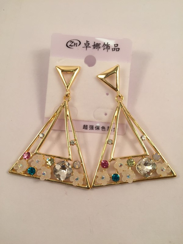 Traingular shaped beautiful earrings with multi stone shiney and a rich look
