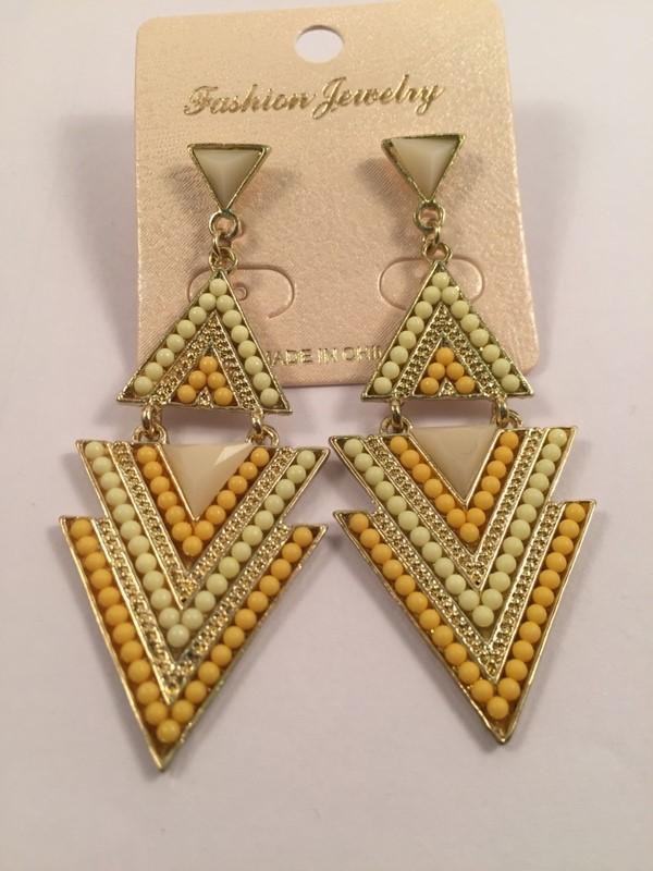 Multi triangular shaped yellow shaded beaded look long earrings