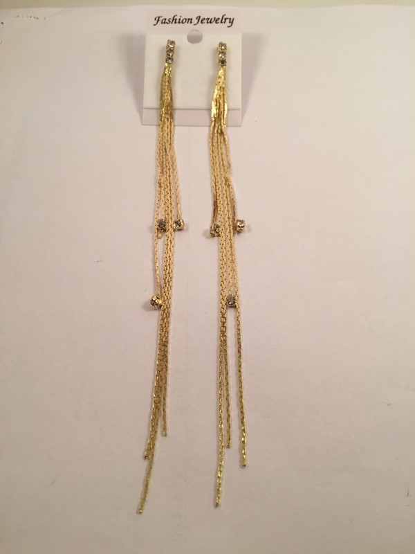 Long tassels gold toned earrings very rich and glamours look