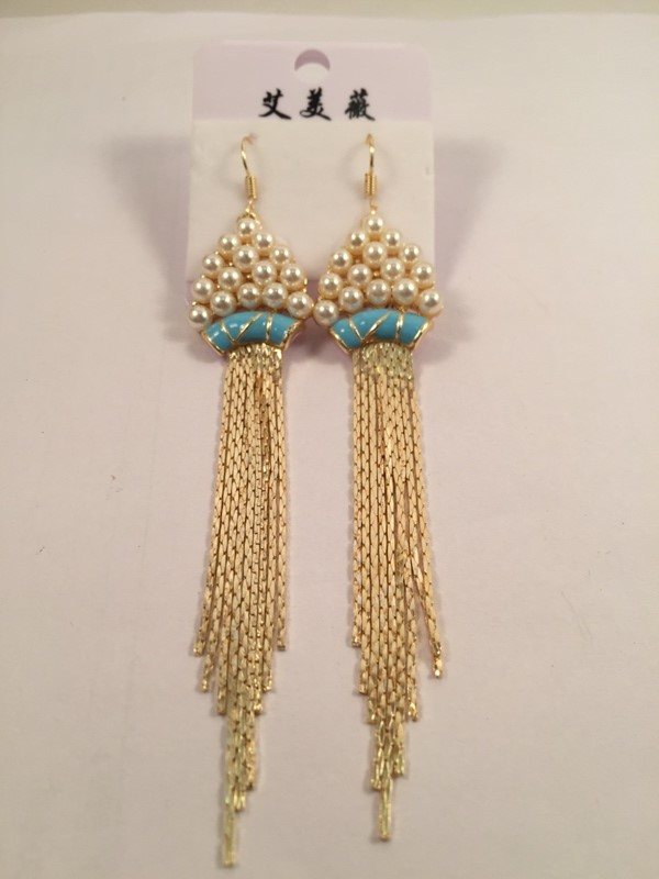 Long tassels  with pearls on top glamorous earrings