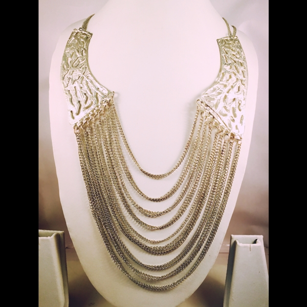 Silver toned long necklace