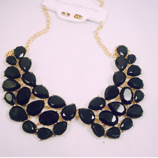 Black collar necklace with beautiful drop shaped beads
