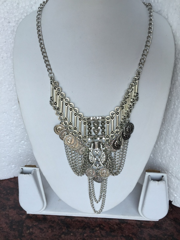 Bohemian Retro style chunky silver toned multi coined vintage necklace
