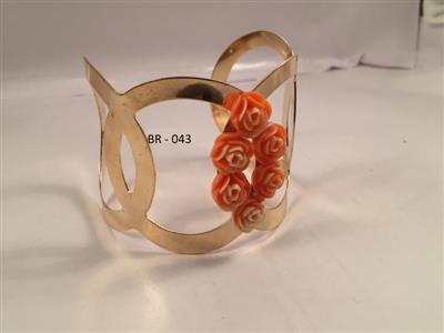 Gold toned  cuff chic and glamorous rose flower bracelet