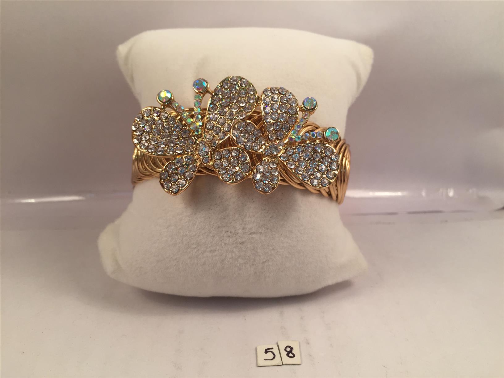 Gold toned diamond finish butterflies chic bracelets