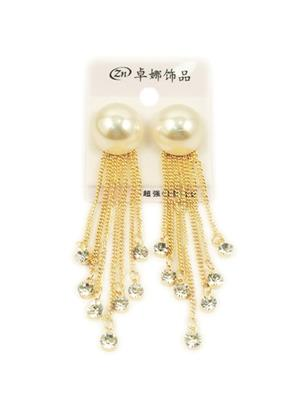 Pearl and long chain earrings