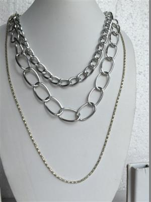 Multi chain silver toned  very stylish necklace