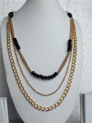 Multi chain gold toned with black stones very stylish necklace