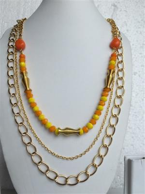 Multi chain gold toned with Multi shaped beads stylish necklace