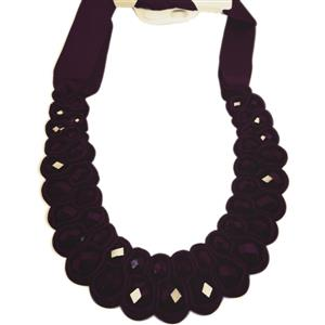 Entwined black Crystal velvet  ribbon necklace