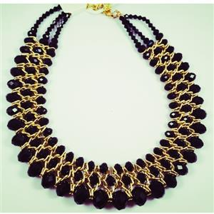 Entwined black Crystal IN gold tone chain necklace