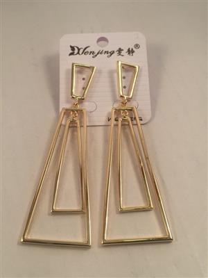 Long rectangular goldent toned chic earrings