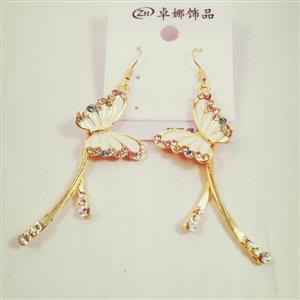 White Butterfly gold toned glamorous earrings