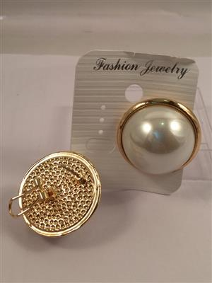 Beautiful bold pearl with gold toned border stud earrings