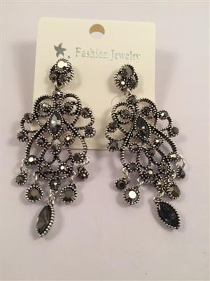 Designer black toned traditional shiney border earrings