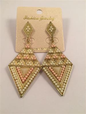 Multi triangular shaped shaded beaded look long earrings