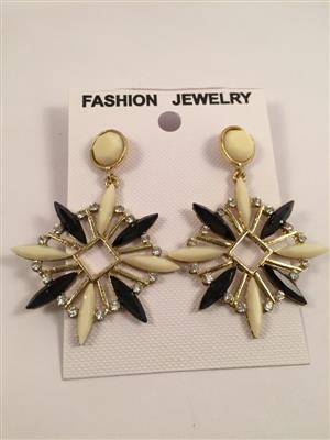 Very rich and traditional black and white earrings