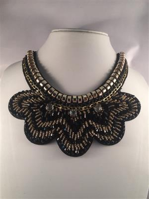 Black Collar necklace with flower shape at bottom