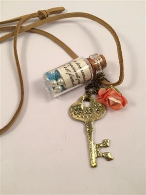 Stylish long chain with bottle- flower and key pendant